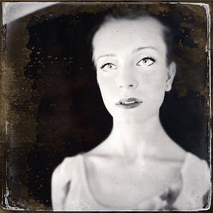 noia, Retrat, fotos antigues i degradades, cara, retro, pell blanca, pàl·lid