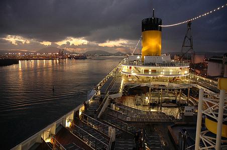 kryssningsfartyg, båt, natt, resor, havet, Ocean, semester