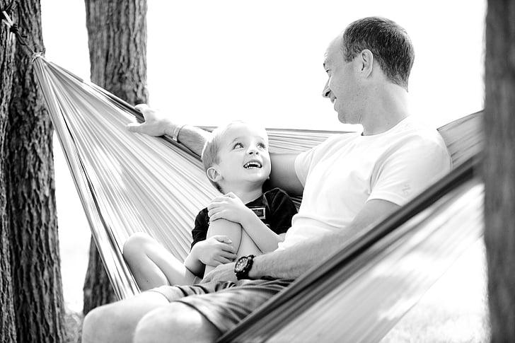 pai, filho, cama de rede, menino, criança, família, feliz