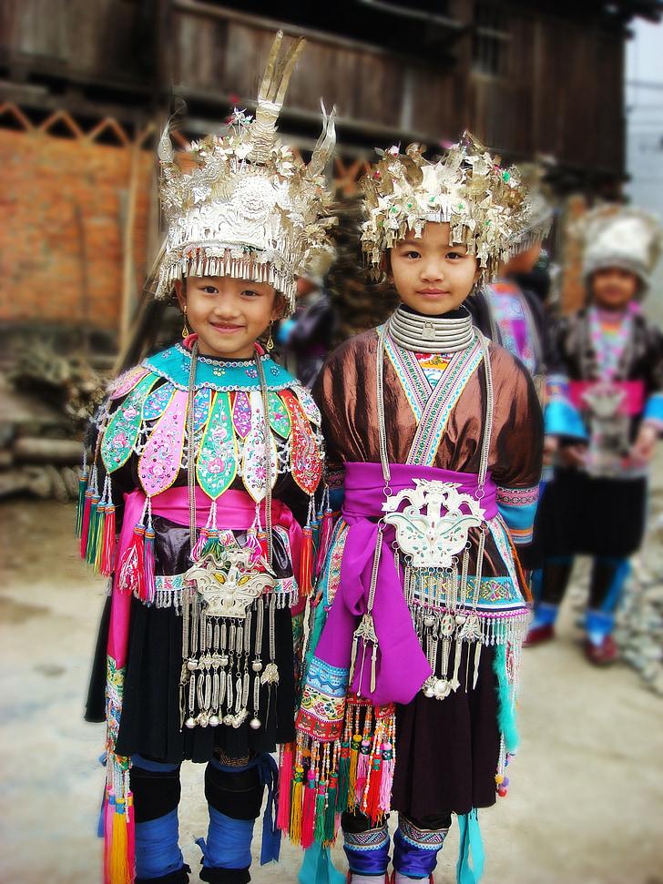 criança, China, Guizhou, minoria