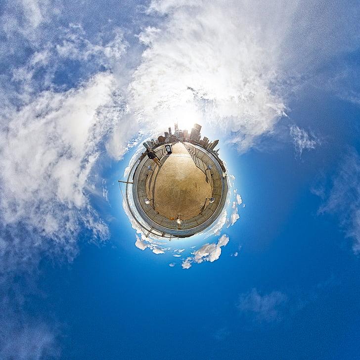 san francisco, little planet, 360, america, blue, building, california