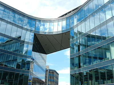 edifici, edifici d'oficines, Oficina, vidre, reflexió, gratacels, edifici de vidre