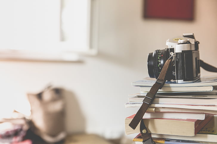 books, camera, depth of field, photography, piled, stacked, vintage
