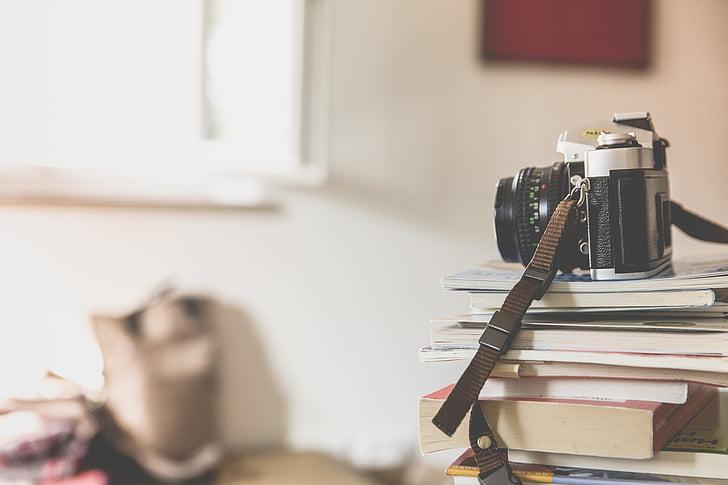 böcker, kameran, skärpedjup, fotografering, staplade, staplade, Vintage
