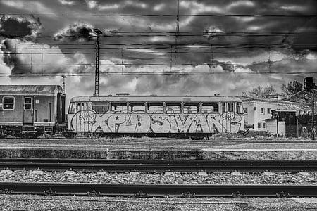 dramatic, train car, wagon, zugabteil, nostalgic, train, railway station