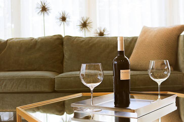 Cozy, mööbel, siseruumides, diivan, stemware, Tabel, veini