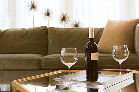 accogliente, mobili, al chiuso, divano, Calici, tavolo, vino
