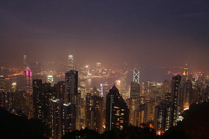 Hong kong, Xina, Àsia, línia cel, paisatge urbà, horitzó, arquitectura