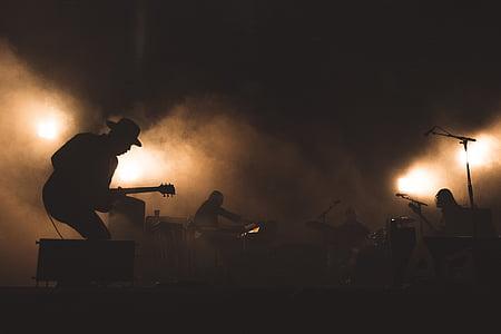 koncert, szakasz, fény, rock, zene, zenekar, emberek, zenész