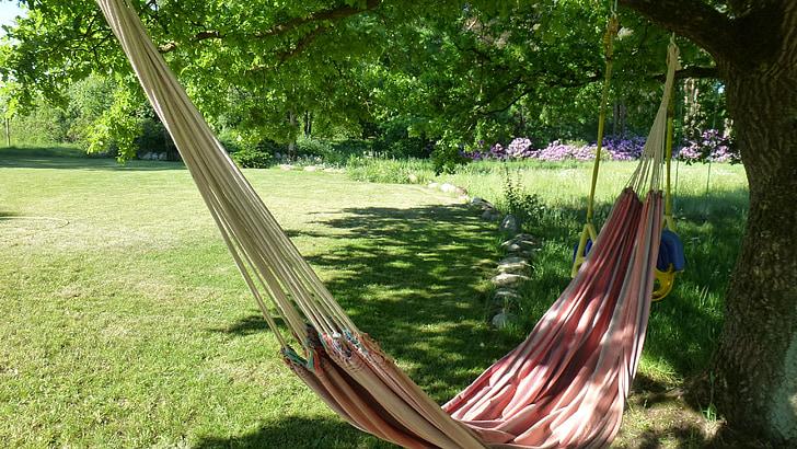 hamaca, jardí, relaxar-se