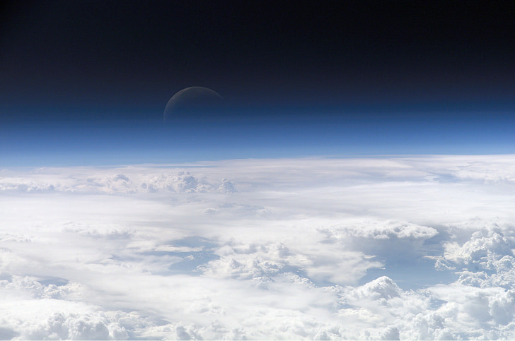 moon, moonrise, space, space travel, clouds, atmosphere, layer of clouds