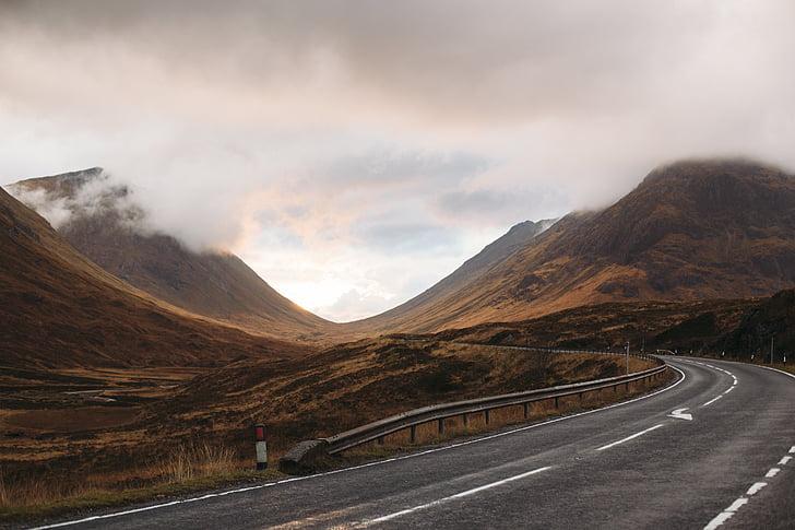 pilved, rohumaa, maastik, mäed, Road, Travel, Valley