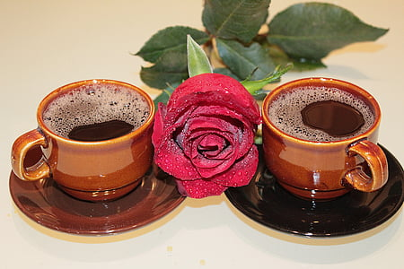 Rosa, cafè, tasses, escuma, beguda
