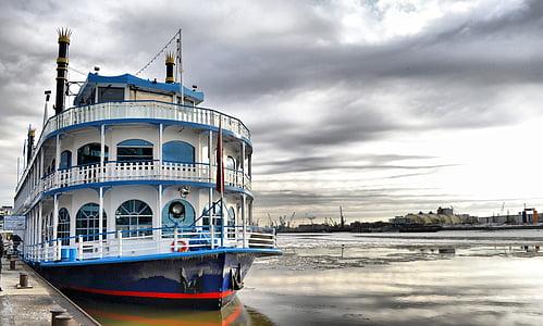 Panci Kukusan, kapal uap, boot, kapal, Hamburg, Port, Jerman