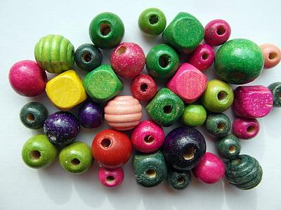 comptes de fusta, colors, color, fusta, perles, aïllats, Cadena