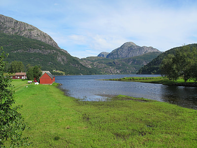 Sunnfjord, Dale, Norge, Mountain, fjorden, berget, kusten