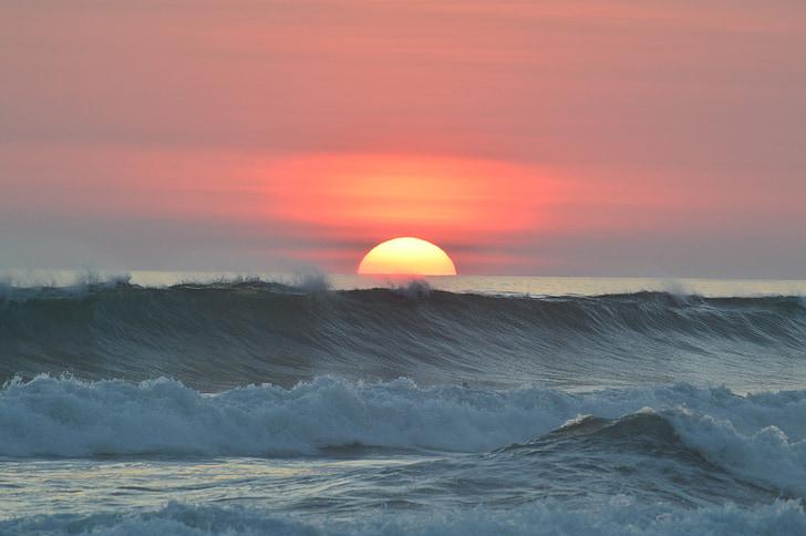 solnedgång, Ocean, vatten, vågor, Tropical, kusten, Utomhus