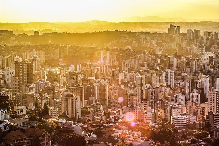 sunset, sun rays, skyline, buildings, city, architecture, towers