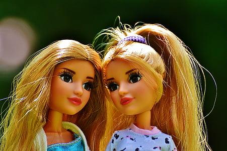 dvojčatá, dievča, samica, mladý, tvár, Dvojlôžková, krása