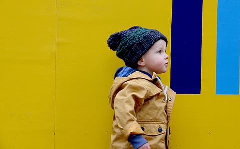 people, child, kid, yellow, coat, bonnet, boy
