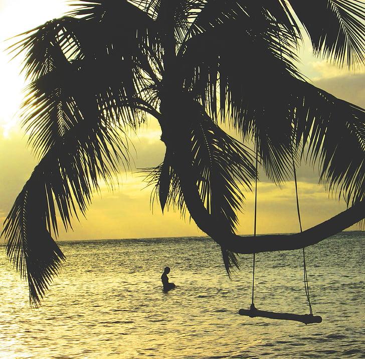šūpoles, okeāns, jūra, brīvdiena, tropu, daba, brīvdienas