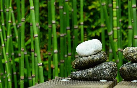 stenar, Bamboo, dekoration, trädgård, vatten, trädgårdsdammen, balans