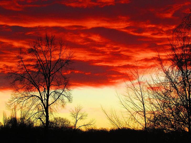 nubes, nubes rojas, rojo, cielo, Estado de ánimo, salida del sol, atmosférica