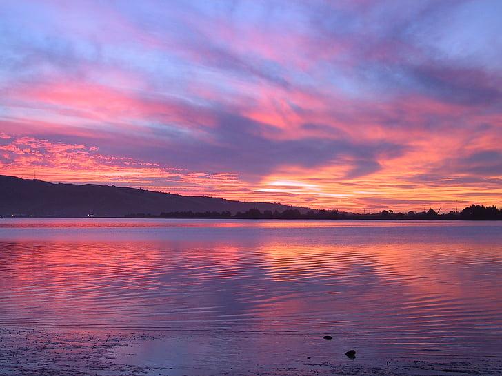 호수, 저녁, 일몰, abendstimmung, 물, 구름, 미러링