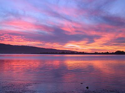 sjön, kvällen, solnedgång, abendstimmung, vatten, moln, spegling