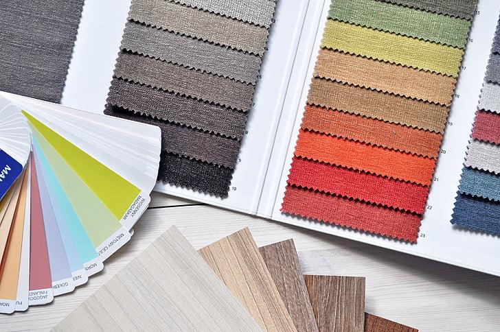 интериорен дизайн, уеб, плат, шаблон, цветове, палитрата, материал