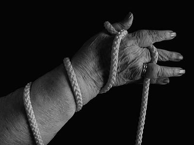 mano, corda, beccati, associato, donna, vecchio, età