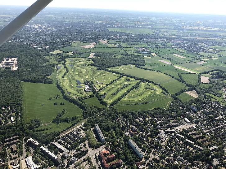 aerial view, golf course, green, golf, rush, landscape, golf club