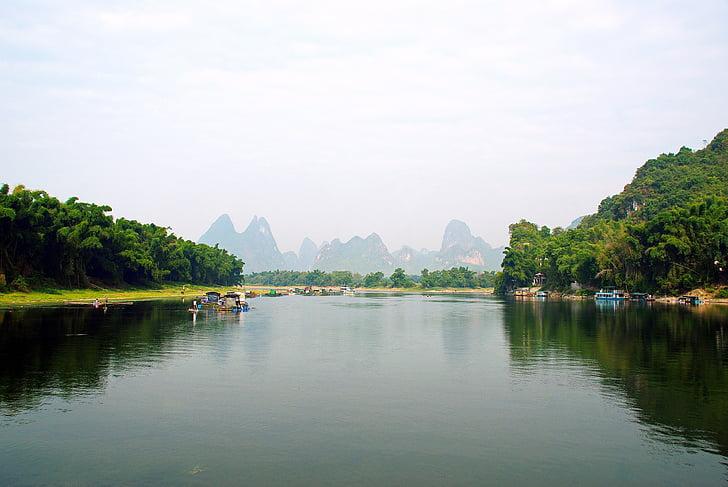 china, yangshuo, li river, boat, fisherman, valley, reflections campaign