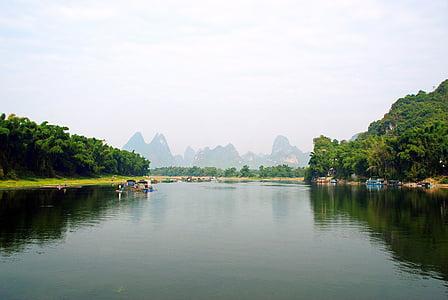 Китай, Yangshuo, Лі річка, човен, рибалка, Долина, Роздуми кампанії