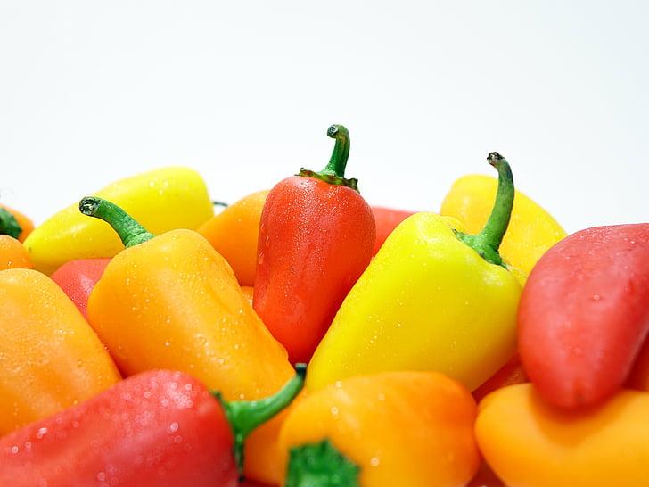 paprika, färgglada, färgglada, mat, fräschör, friska, fukt