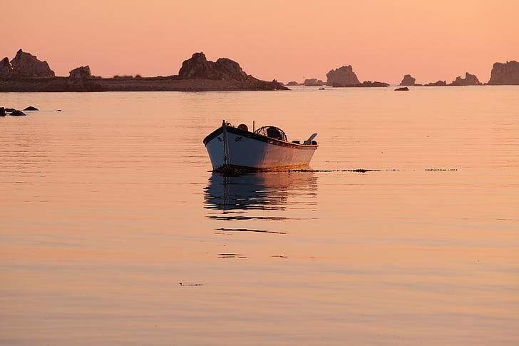 Bretanya, vaixell, Mar, reflexió sobre l'aigua, matí, posta de sol, reflexió