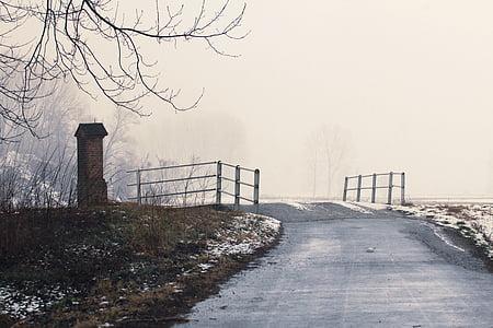 Pont, fred, país, boira, boira, neu, l'hivern