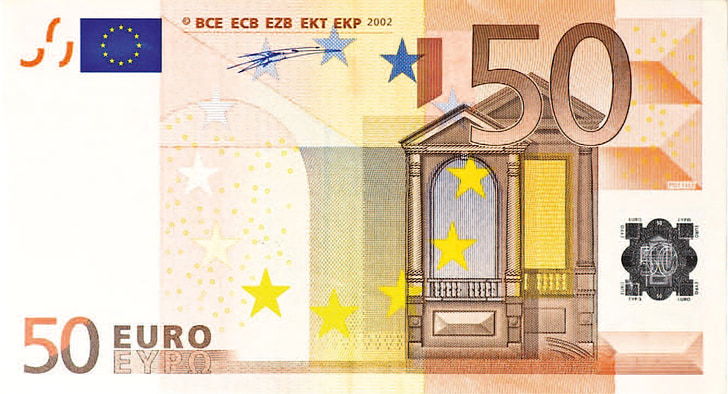 dollarin setelin, 50 euron, rahaa, seteli