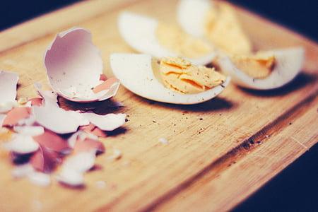 esmorzar, Ou cuit, comestibles, ou, closques d'ous, rovell d'ou, closques d'ou