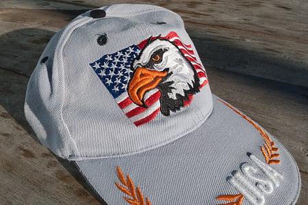 gorra, gorra de beisbol, gorra de plat, Bandera, barres i estrelles, Adler, àguila calba