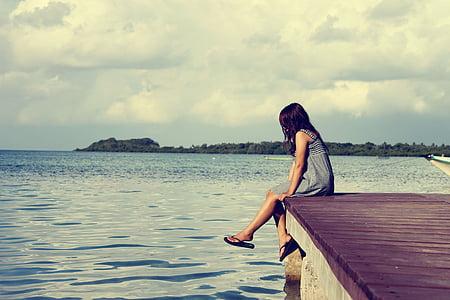море, Пірс, жінка, самотні жінки, сидячи, самотня, Розслабтеся