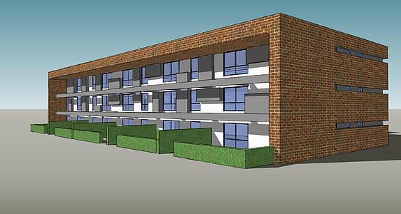 edifici, representació, pintura, arquitectura, moderna, estructura de construcció, edifici exterior