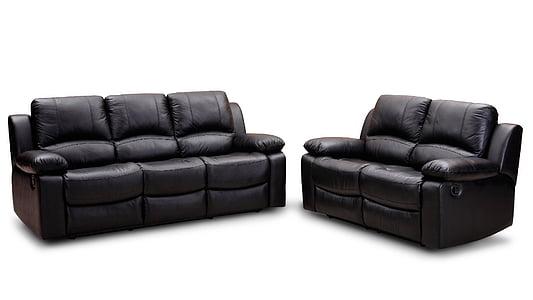 sofà, mobles, sofà de cuir, sofà de butaca, sofà, cuir, còmode