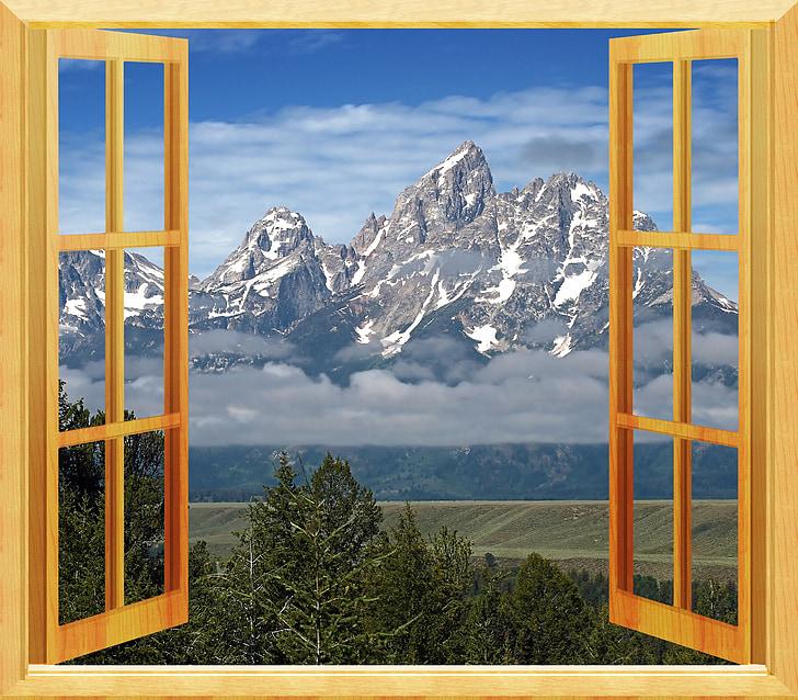 finestra, veure, obrir la finestra, marc de finestra, a través de, obrir, vist a través de la finestra