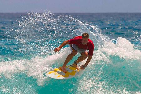 Surfer, deska surfingowa, surfing, fala, wody, Surf, Ocean
