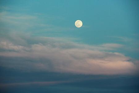 Lluna plena, cel, abendstimmung, il·luminació, nit d'estiu, plomall de núvol, or de nit