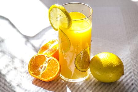 llimona, suc, begudes, fresc, l'estiu, taronja, fruites