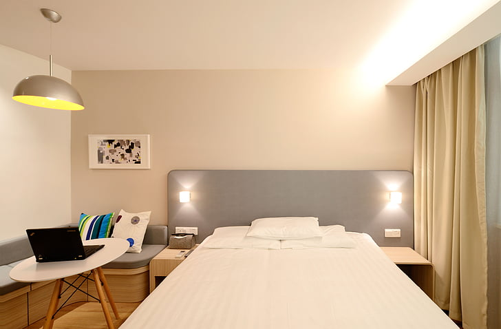 hotel, guest room, new, bed, bedroom, domestic Room, electric Lamp