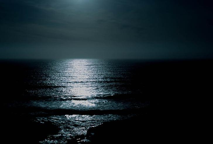 vida, bellesa, escena, platja de nit, oceà de nit, l'aigua, Mar