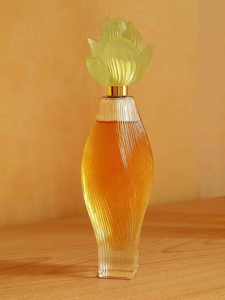 parfém, víčko, květ, láhev, sklo